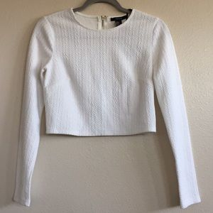 Long Sleeve Quilt Texture Crop Top